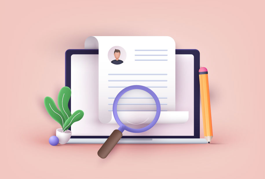 Illustration of a laptop showing a magnifying glass over a digital document